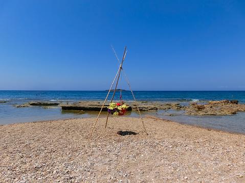 The beach of Katakolon, Greece at sunny day