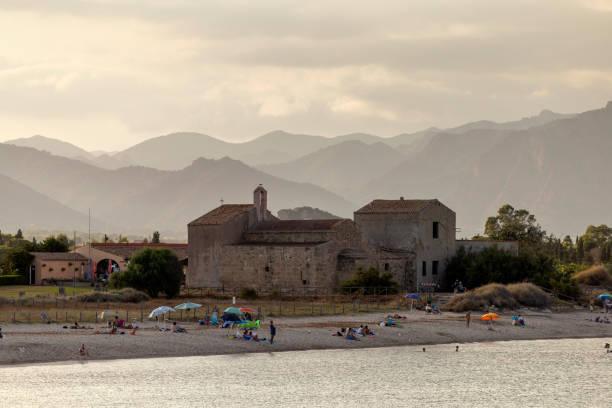 The beach of Nora, Italy stock photo