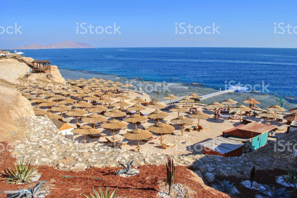 The beach of the Red Sea, Hurghada, Egypt stock photo