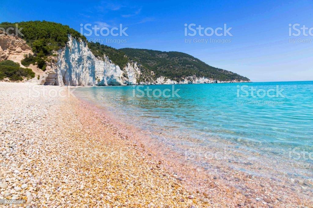 The beach of Vignanotica  on Apulia, Italy stock photo