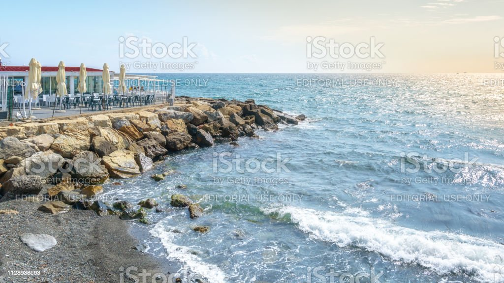 The Beach Terrace Of The Restaurant Bar Living Garden In The Italian City San Remo Stock Photo Download Image Now Istock