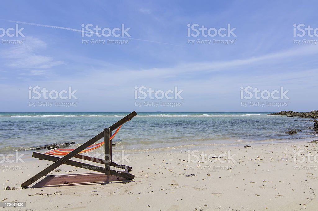 The beach with a chair royalty-free stock photo