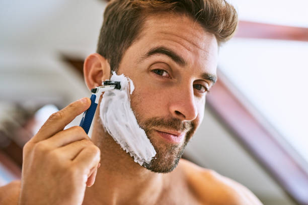 the beard has to go - shaving cream stock pictures, royalty-free photos & images