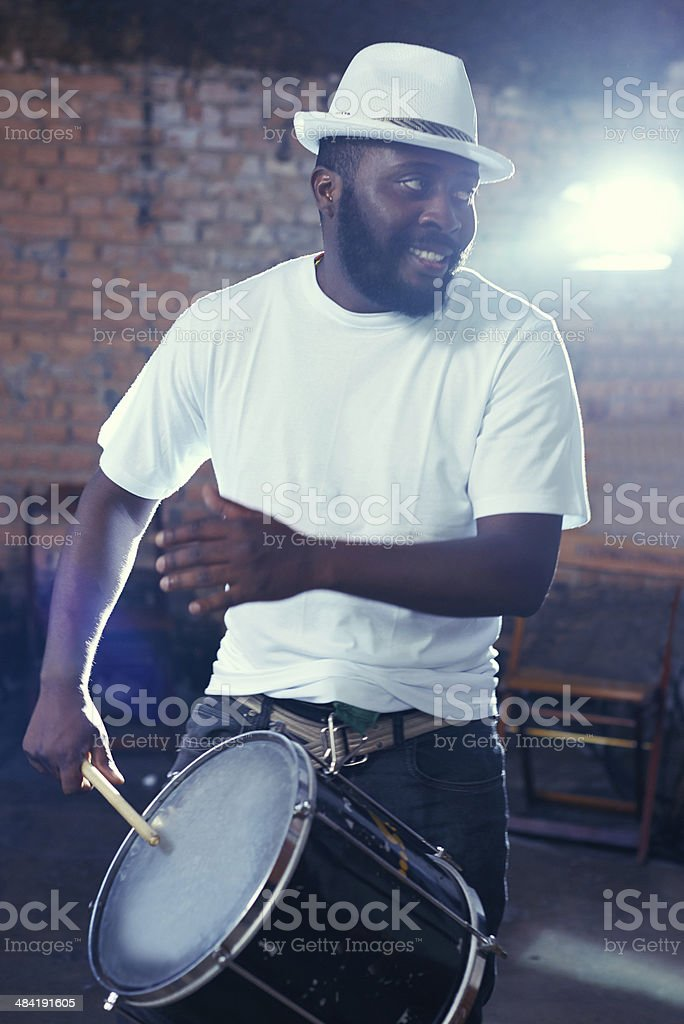 The beat coms from his soul stock photo