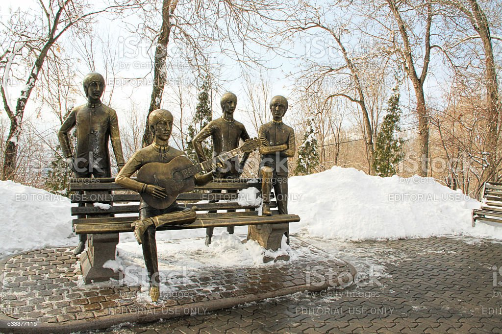 The Beatles Panchina su Kok Tobe montagna vicino ad Almaty, Kazakistan - foto stock
