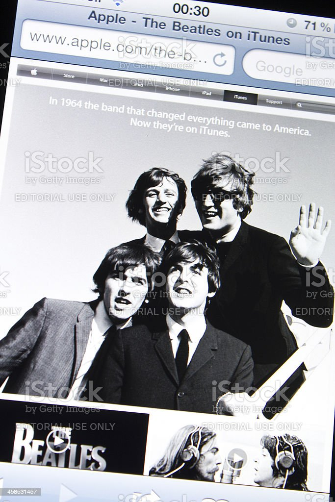 The Beatles A Apple Itunes site - foto de acervo