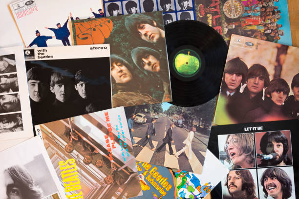 beatles original vinyl - beatles band stock-fotos und bilder