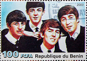 'Newcastle, United Kingdom - September 18, 2012: The Beatles featured on a Postage Stamp from the Republique du Benin'