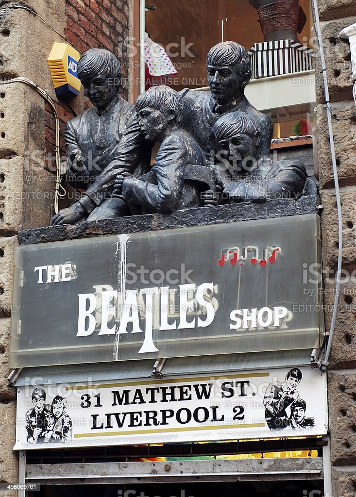 The Beatles shop in Liverpool Mathew Street. stock photo