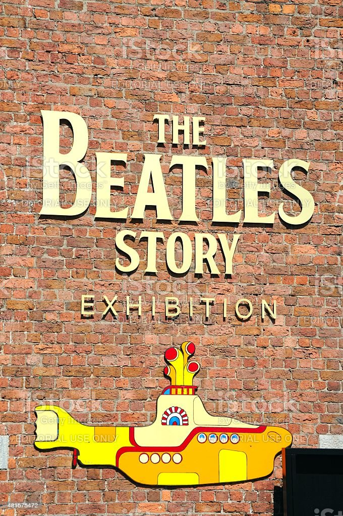 The Beatles Story Exhibition Sign. stock photo