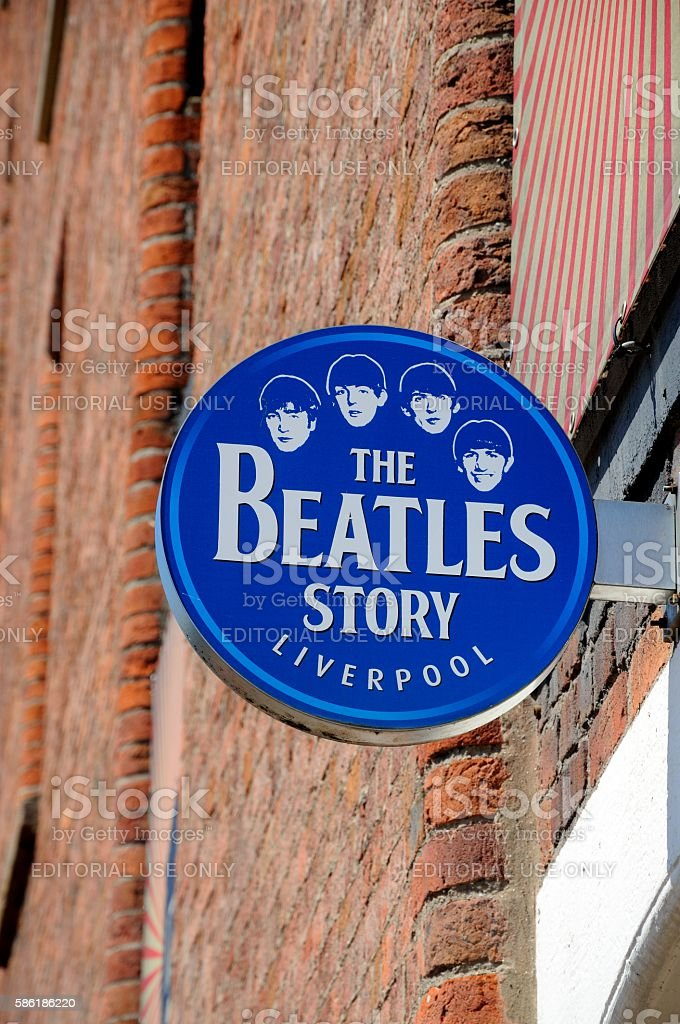 The Beatles Story sign, Liverpool. - foto de acervo