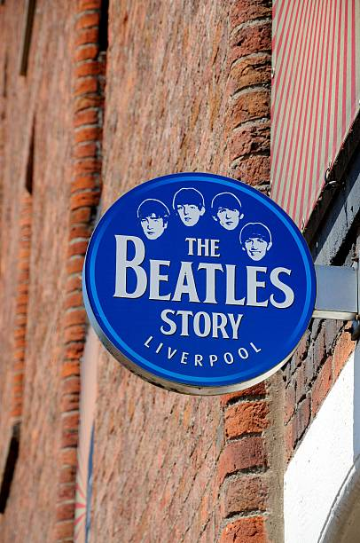 the beatles story sign, liverpool. - beatles band stock-fotos und bilder