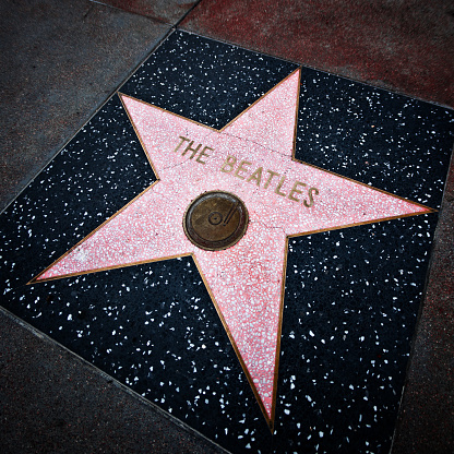 Hollywood, California, USA - March 11, 2009:  The Beatles's Walk Of Fame star on Hollywood Boulevard. Sidewalk of stars stretches throughout Hollywood with over 2,000 celebrity names on in marble and brass.