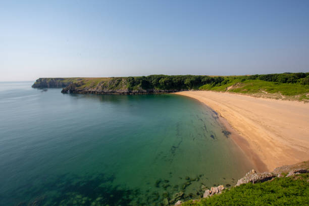 The beautiful Barafundle Bay beach in Pembrokeshire, South Wales stock photo