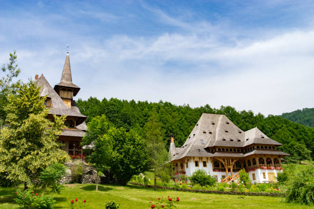 The Beautiful Barsana Temple in Maramures County of Romania stock photo