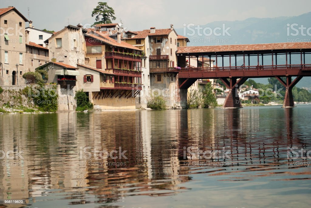 The beautiful Bassno del Grappa, Veneto, Italy, city of the famous wooden bridge over the Brenta river - foto stock