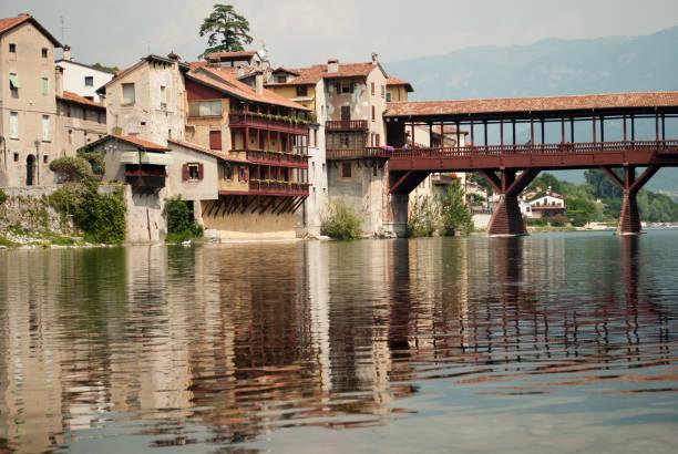 The beautiful Bassno del Grappa, Veneto, Italy, city of the famous wooden bridge over the Brenta river - foto stock