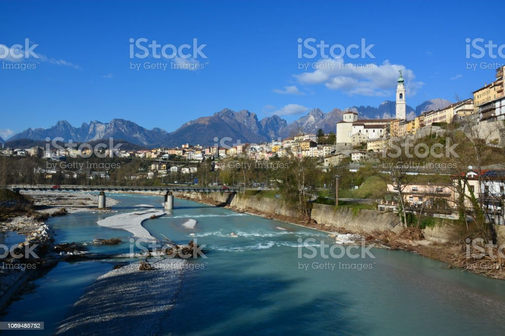 the beautiful belluno, the Venetian town, in Italy, surrounded by the Dolomites mountains, famous all over the world for their beauty - foto stock