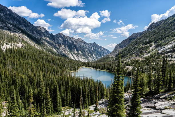 The beautiful Bitterroot Mountains of Montana. The Bitterroot Mountains of the Selway-Bitterroot Wilderness.  Montana, USA valley stock pictures, royalty-free photos & images