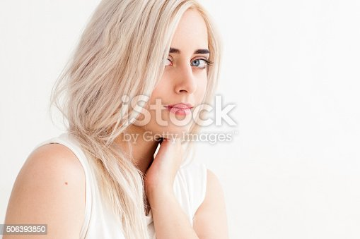 istock The beautiful blonde and concept of purity 506393850
