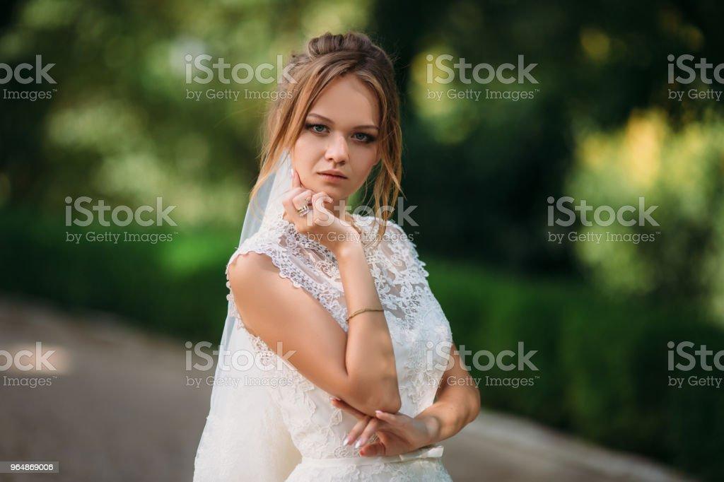 漂亮的金髮女郎要結婚了。穿著蕾絲婚紗的年輕女孩的肖像 - 免版稅人圖庫照片