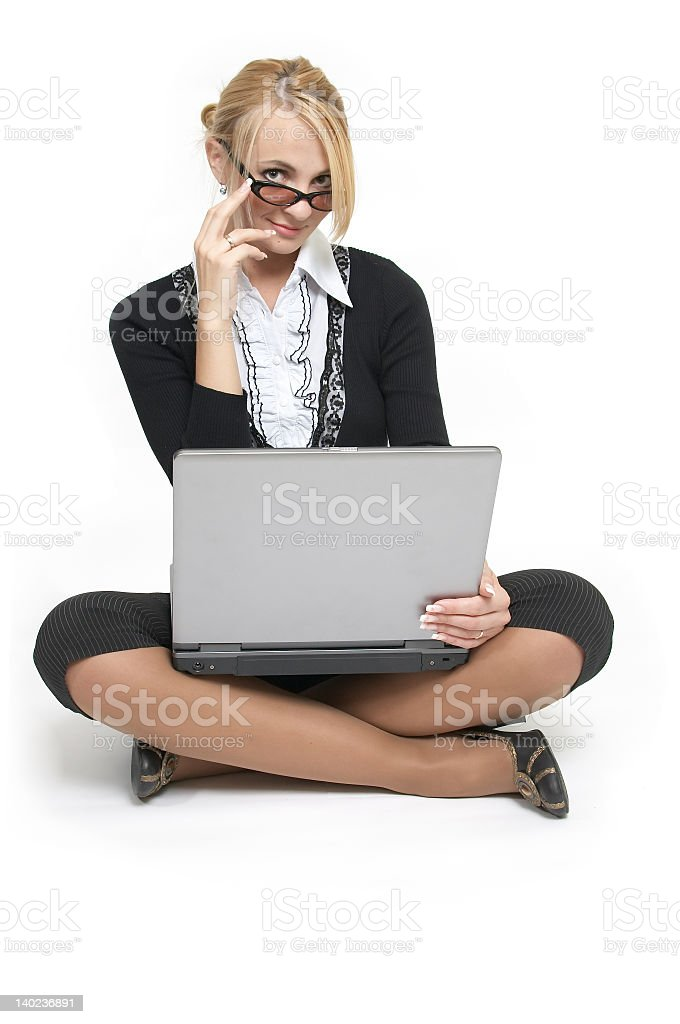 The beautiful blonde sit with laptop. - Royalty-free Activity Stock Photo