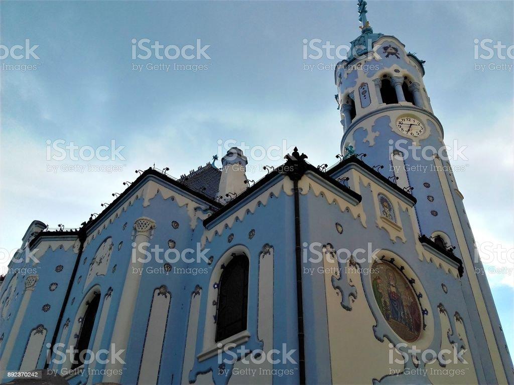 The beautiful blue church in Bratislava stock photo