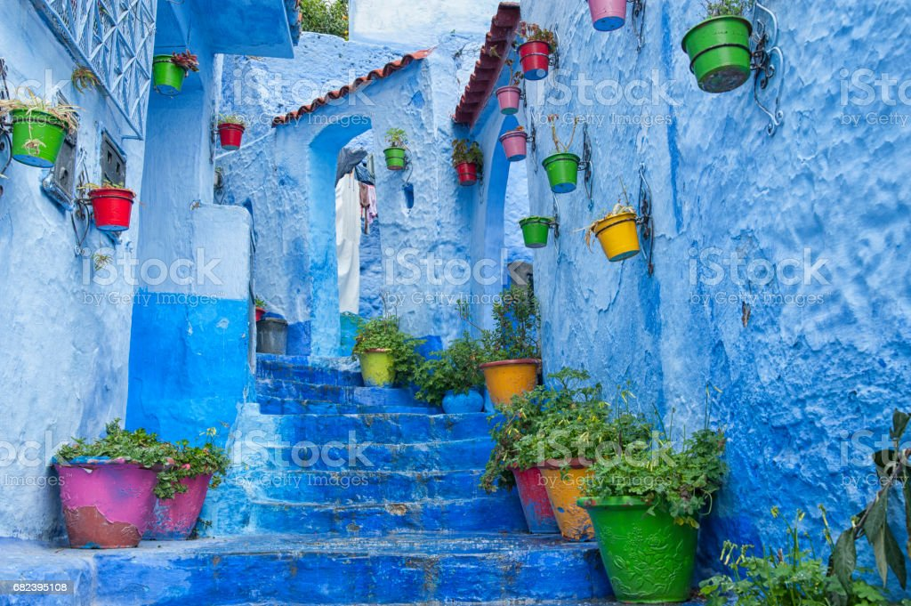 The beautiful blue medina of Chefchaouen, the pearl of Morocco royalty-free stock photo