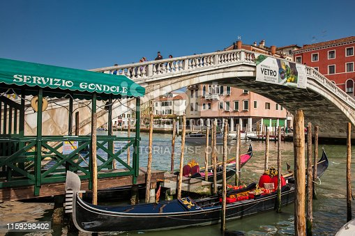 Venice, Italy - April, 2018: The beautiful canals, bridges and gondolas in Venice