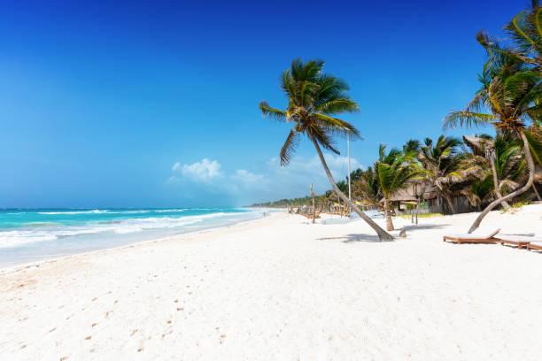 Der schöne karibische Strand von Tulum, Quintana Roo, Mexiko – Foto