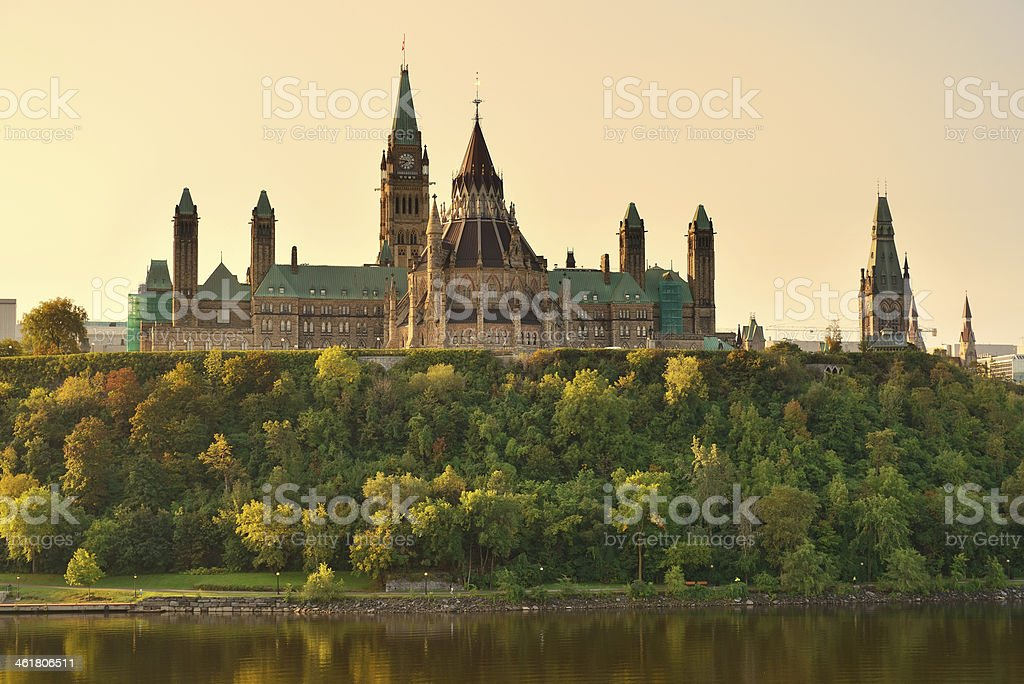 The beautiful castle in the distance on a Ottawa morning  stock photo