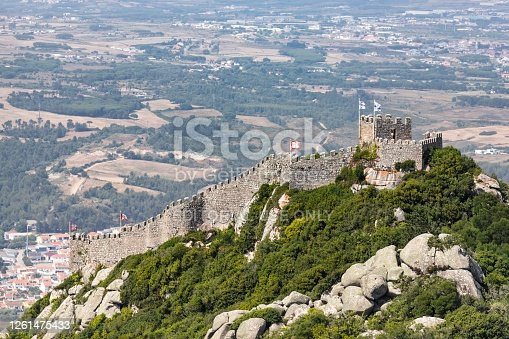 July 23, 2020. Sintra: The beautiful aerial view of the castle of Moors in the municipality of Sin. hilltop medieval castle located in the central Portuguese civil parish of Santa Maria e São Miguel