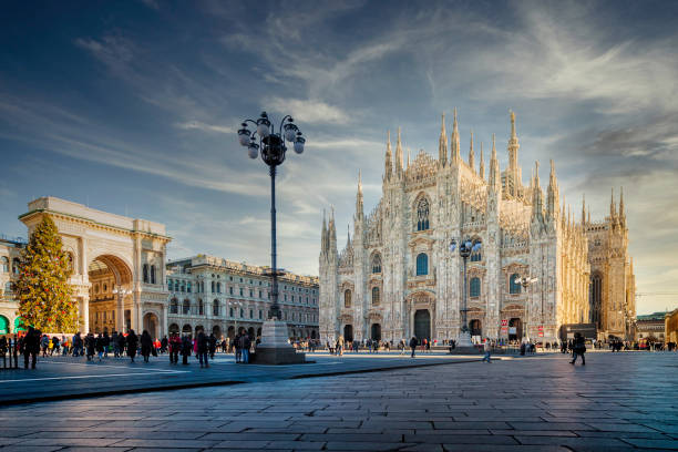The beautiful Cathedral of Milan, Italy The beautiful Cathedral of Milan in a sunny winter morning place of worship stock pictures, royalty-free photos & images