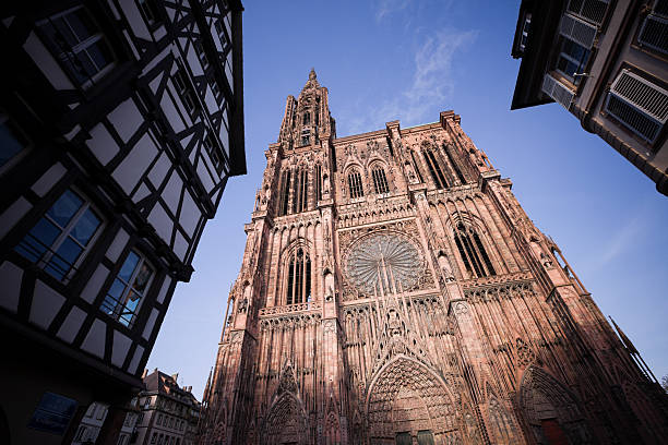 The beautiful Cathedral of Our Lady at Strasbourg Cathedral of Our Lady of Strasbourg is one of the most important Examples of ecclesiastical Architecture in Europe. Wideangled View of the West Facade. lancet arch stock pictures, royalty-free photos & images