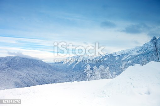 istock The beautiful Caucasus Mountains, Winter landscape. Winter background 878161070
