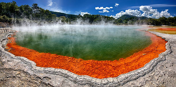 The beautiful Champagne Pool at Wai-O-Tapu, New Zealand Thermal lake Champagne Pool at Wai-O-Tapu Thermal Wonderland near Rotorua, New Zealand (HDR panorama) rotorua stock pictures, royalty-free photos & images