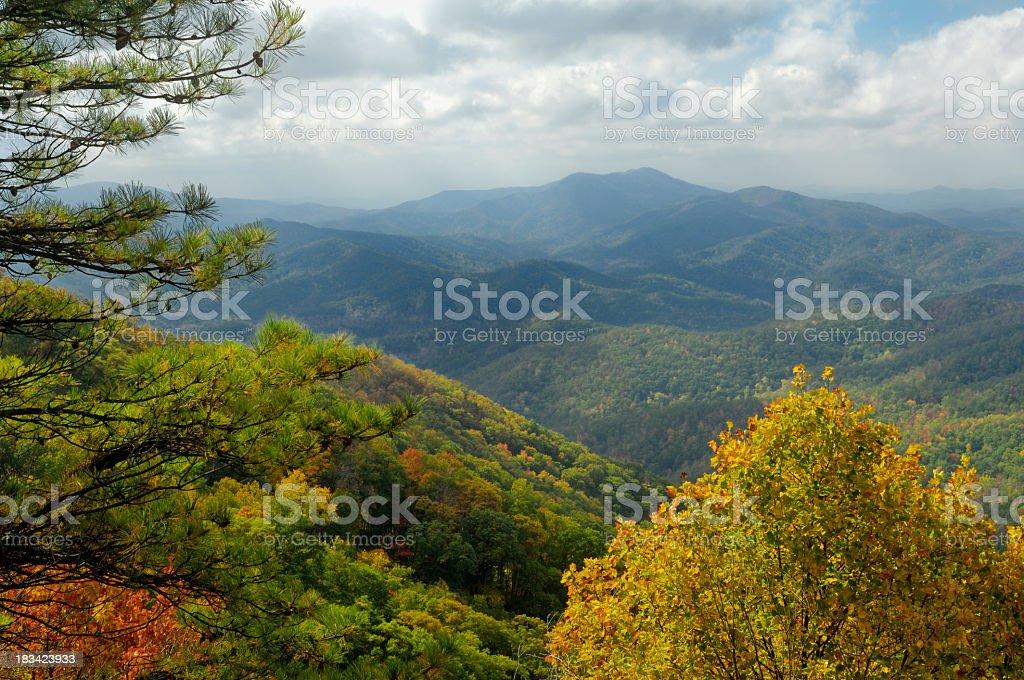 The beautiful Cherohala Skyway in peak autumn colors stock photo