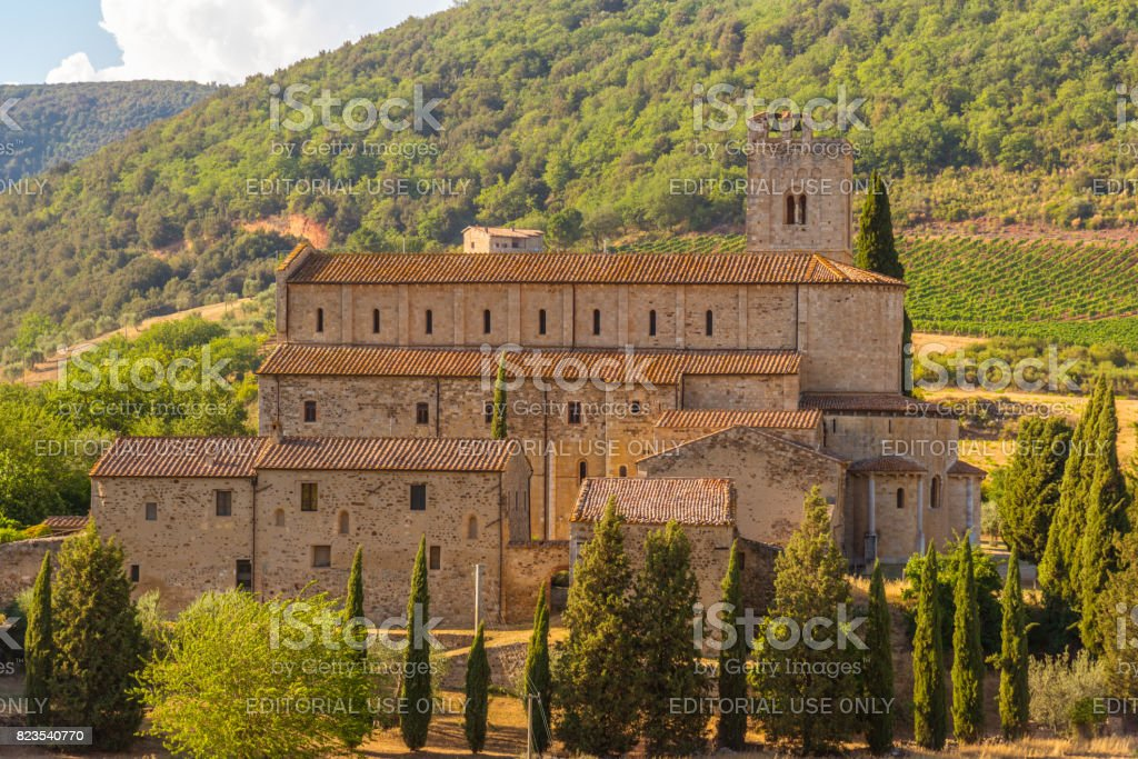 The beautiful church of Sant'Antimo in Tuscany stock photo