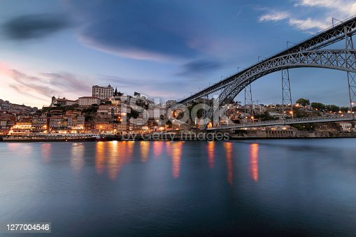 The beautiful city of Porto in Portugal at sunset. Stunning panorama view of the little city waterfront from the Douro riverside with the Luis I bridge in the foreground. European city concept