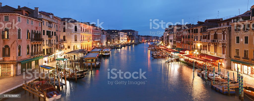 The beautiful city of Venice at night royalty-free stock photo