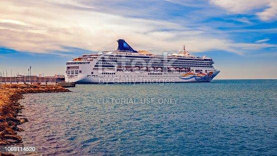 Malaga, Spain - March 23, 2018. The beautiful cruise ship Norwegian Spirit in Malaga Port, Spain.