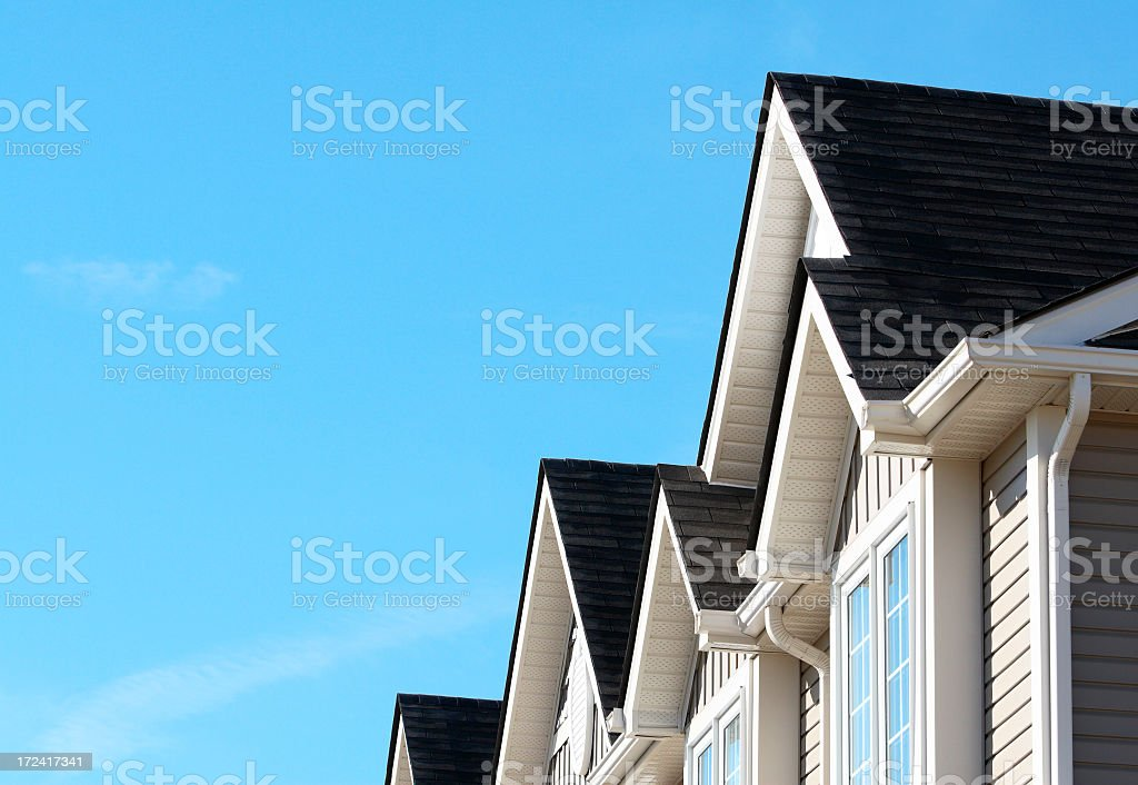 The beautiful dark roof of a new house stock photo