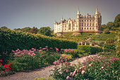 The beautiful Dunrobin castle, northern Highlands in Golspie, east coast of Scotland, Britain
