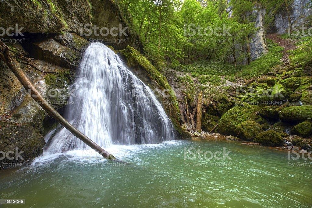 The beautiful Evantai waterfall from Galbenei Gorge stock photo
