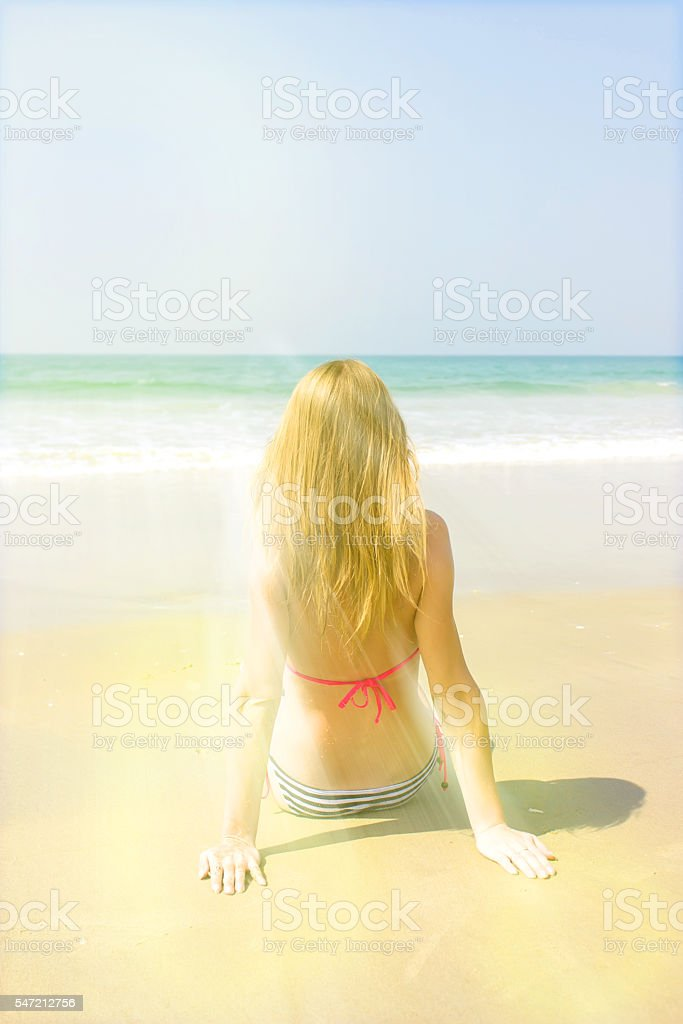 The beautiful girl on the seashore looks at the sea stock photo