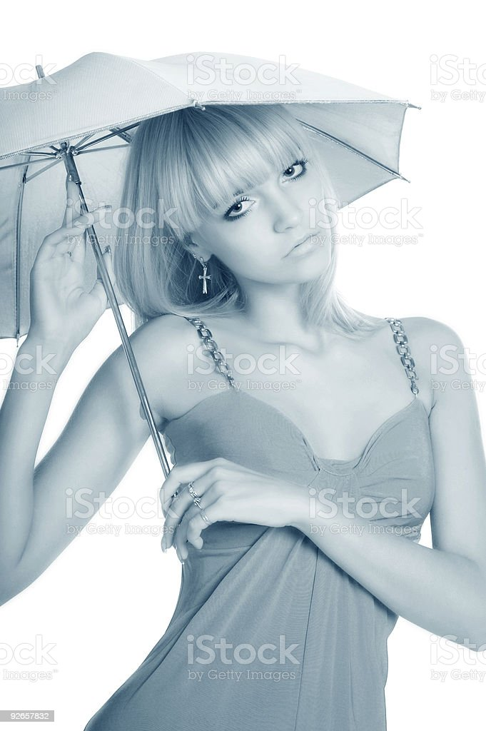 The beautiful girl with a umbrella royalty-free stock photo