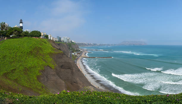 The beautiful green cliffs of the Costa Verde in the Miraflores district of Lima stock photo