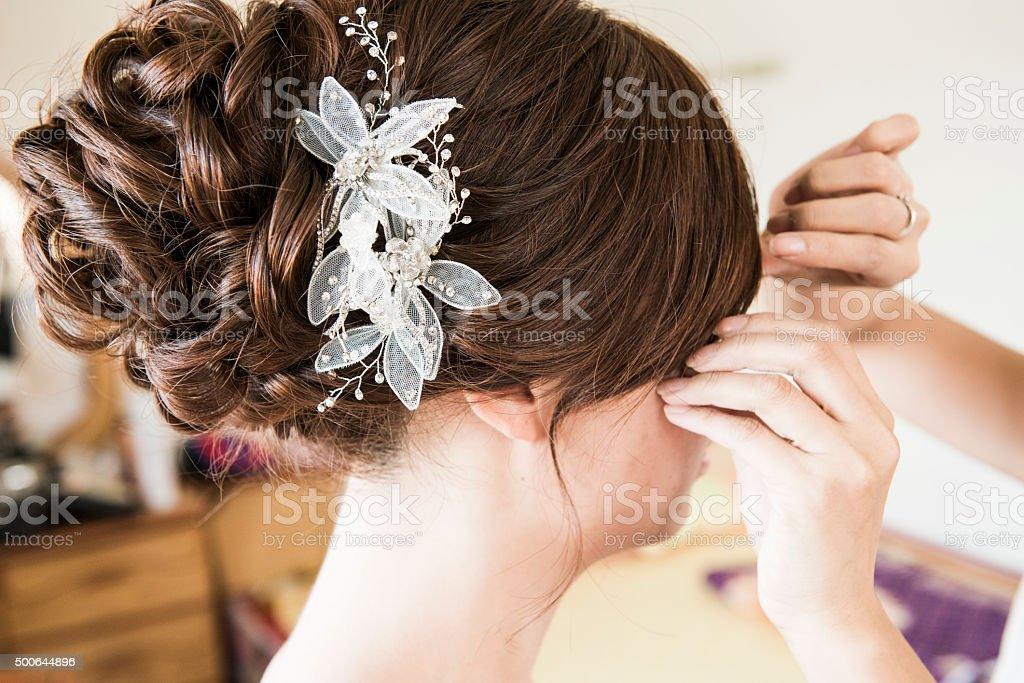 Schone Frisur Fur Chinesische Hochzeit Stockfoto Und Mehr Bilder Von