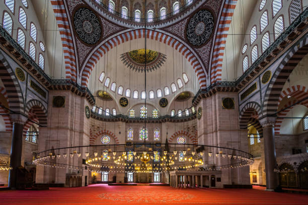 The beautiful interior of Suleymaniye Mosque, the second largest mosque in Istanbul, built in 1550, Istanbul, Turkey stock photo