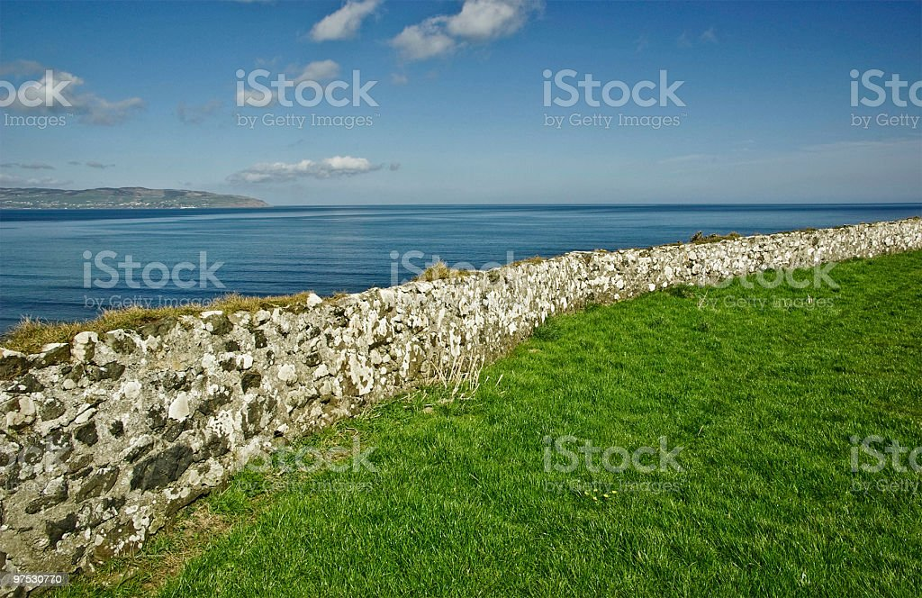 The beautiful Irish Coastline and sea of Northern Ireland stock photo